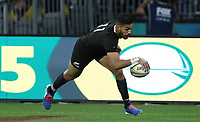 Rieko Ioane of the All Blacks goes over for try during the Rugby Championship match between Australia and New Zealand at Optus Stadium in Perth, Australia on August 10, 2019 . Photo: Gary Day / Frozen In Motion