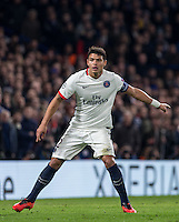 Thiago Silva of Paris Saint-Germain during the UEFA Champions League Round of 16 2nd leg match between Chelsea and PSG at Stamford Bridge, London, England on 9 March 2016. Photo by Andy Rowland.
