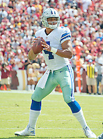 Dallas Cowboys quarterback Dak Prescott (4) looks for a receives in first quarter action against the Washington Redskins at FedEx Field in Landover, Maryland on Sunday, September 18, 2016.<br /> Credit: Ron Sachs / CNP /MediaPunch
