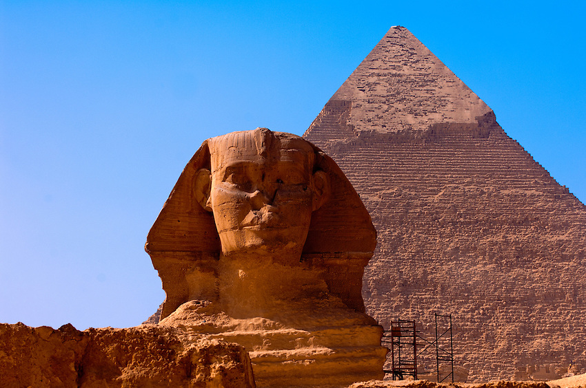 The Sphinx and the Great Pyramids of Giza, outside Cairo, Egypt