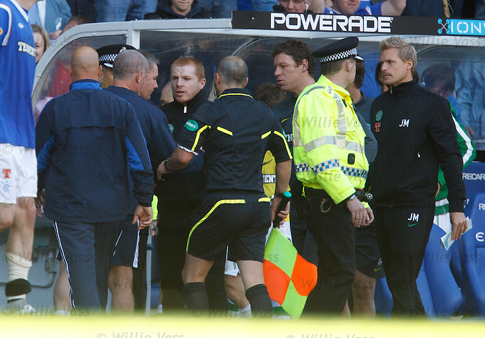 Neil Lennon and Ally McCoist at the final whistle