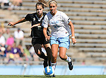 14 October 2007: North Carolina's Allie Long (33) and Wake Forest's Ashley Burney (5). The University of North Carolina Tar Heels defeated the Wake Forest University Demon Deacons 1-0 at Fetzer Field in Chapel Hill, North Carolina in an Atlantic Coast Conference NCAA Division I Womens Soccer game.