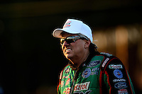 Oct. 5, 2012; Mohnton, PA, USA: NHRA funny car driver John Force during qualifying for the Auto Plus Nationals at Maple Grove Raceway. Mandatory Credit: Mark J. Rebilas-