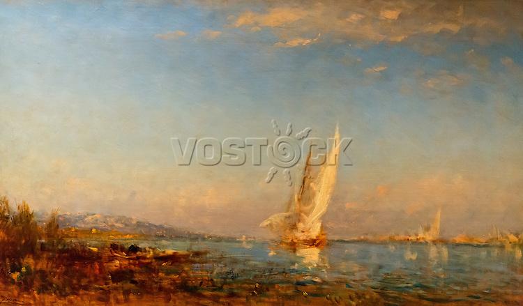 ActiveMuseum_0000043.jpg / Martigues, the white sail - Felix Ziem - <br />06/06/2013  -  <br />Active Museum / Le Pictorium