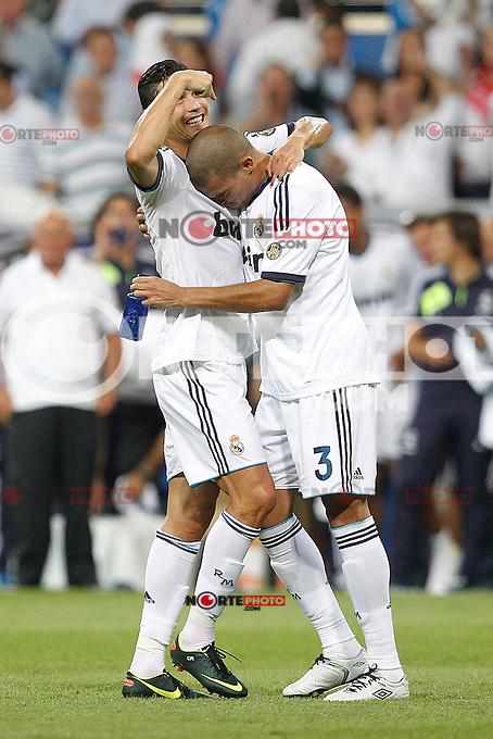 Real Madrid's Cristiano Ronaldo and Pepe during Spanish Supercup 2nd match on august 29 2012...Photo: Cebola / Cid-Fuentes / ALFAQUI /NortePhoto.com<br /> <br /> **CREDITO*OBLIGATORIO** <br /> *No*Venta*A*Terceros*<br /> *No*Sale*So*third*<br /> *** No*Se*Permite*Hacer*Archivo**<br /> *No*Sale*So*third*