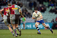 Josh Bayliss of Bath Rugby goes on the attack. Aviva Premiership match, between Harlequins and Bath Rugby on March 2, 2018 at the Twickenham Stoop in London, England. Photo by: Patrick Khachfe / Onside Images
