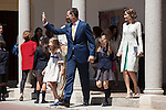King Felipe VI of Spain, Princess Leonor of Spain, Princess Sofia of Spain and Queen Letizia of Spain leave the Asuncion de Nuestra Senora Church after celebrating the First Communion of the Princess Leonor of Spain in Madrid, Spain. May 20, 2015. (ALTERPHOTOS/Victor Blanco)