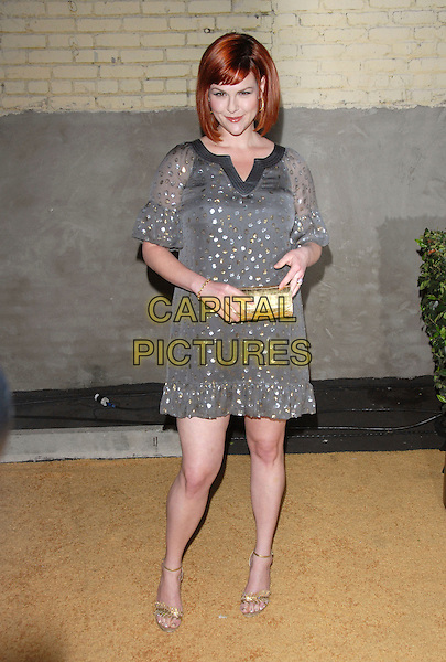 SARA RUE.The US Hot Hollywood 2007 held at Sugar in Hollywood, California, USA..April 26th, 2007.full length dress grey gray jewel enecrusted sheer dress gold clutch purse.CAP/DVS.©Debbie VanStory/Capital Pictures