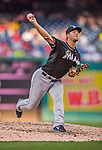 19 September 2015: Miami Marlins pitcher Kyle Barraclough on the mound against the Washington Nationals at Nationals Park in Washington, DC. The Marlins fell to the Nationals 5-2 in the third game of their 4-game series. Mandatory Credit: Ed Wolfstein Photo *** RAW (NEF) Image File Available ***