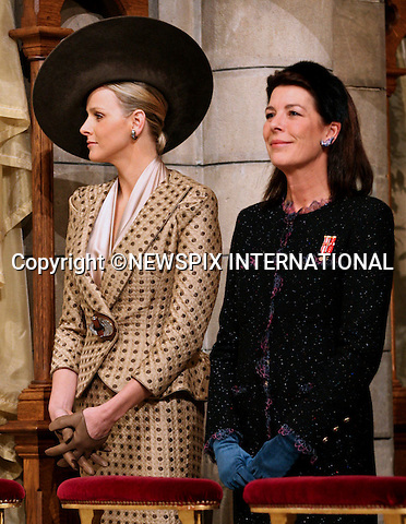 "Charlene Wittstock and Caroline, Princess of Hanover.MONACO NATIONAL DAY 2010 (Fête Nationale Monégasque 2010).The Royal Family attended the traditional annual Thanksgiving Mass at the Cathedral of Our Lady Immaculate (Cathedrale Notre-Dame Immaculee) as part of Monaco's National Day celebrations. Monaco_19/11/2010..Mandatory Photo Credit: ©Newspix International..**ALL FEES PAYABLE TO: ""NEWSPIX INTERNATIONAL""**..PHOTO CREDIT MANDATORY!!: NEWSPIX INTERNATIONAL(Failure to credit will incur a surcharge of 100% of reproduction fees)..IMMEDIATE CONFIRMATION OF USAGE REQUIRED:.Newspix International, 31 Chinnery Hill, Bishop's Stortford, ENGLAND CM23 3PS.Tel:+441279 324672  ; Fax: +441279656877.Mobile:  0777568 1153.e-mail: info@newspixinternational.co.uk"