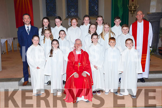 Knocknagree NS pupils with Bishop Ray Browne, Fr Pat O'Donnell, and DJ Golden Principal at their Confirmation in St Josephs church Rathmore on Tuesday