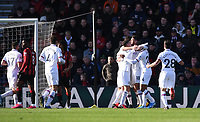 29th February 2020; Vitality Stadium, Bournemouth, Dorset, England; English Premier League Football, Bournemouth Athletic versus Chelsea; Marcos Alonso  of Chelsea celebrates with his team on scoring the first goal in 33rd minute 0-1