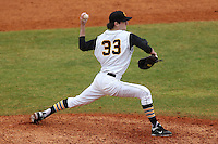 Iowa Hawkeyes pitcher Ben Bergman #33 delivers a pitch during a game against the Illinois State Redbirds at Chain of Lakes Stadium on March 11, 2012 in Winter Haven, Florida.  Illinois State defeated Iowa 10-6.  (Mike Janes/Four Seam Images)