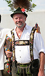 09 June 2006: A Germany fan in traditional Bavarian dress. Germany played Costa Rica at the Allianz Arena in Munich, Germany in the opening match, a Group A first round game, of the 2006 FIFA World Cup.
