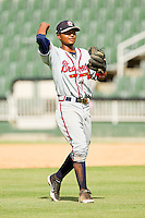 Rome Braves shortstop Elmer Reyes #7 during the game against the Kannapolis Intimidators at CMC-Northeast Stadium on May 28, 2012 in Kannapolis, North Carolina.  The Intimidators defeated the Braves 6-4.  (Brian Westerholt/Four Seam Images)
