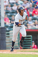 Jackson Valera (27) of the Charleston RiverDogs hustles down the first base line against the Hickory Crawdads at L.P. Frans Stadium on May 25, 2014 in Hickory, North Carolina.  The RiverDogs defeated the Crawdads 17-10.  (Brian Westerholt/Four Seam Images)