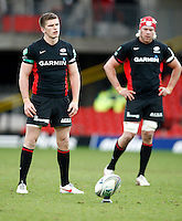 Photo: Richard Lane/Richard Lane Photography. Saracens v Biarritz. Heineken Cup. 15/01/2012. Saracens' Owen Farrell kicks.