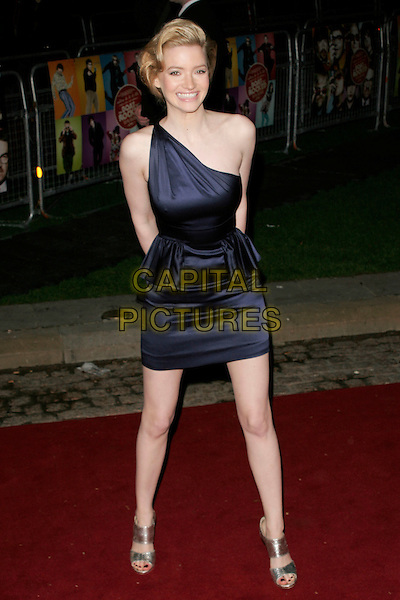 "TALLULAH RILEY.""The Boat That Rocked"" world film premiere at The Odeon, Leicester Square, London, England..March 23rd, 2009.full length dark blue silk satin one shoulder asymmetric dress mini silver shoes open toe Talulah .CAP/AH.©Adam Houghton/Capital Pictures."
