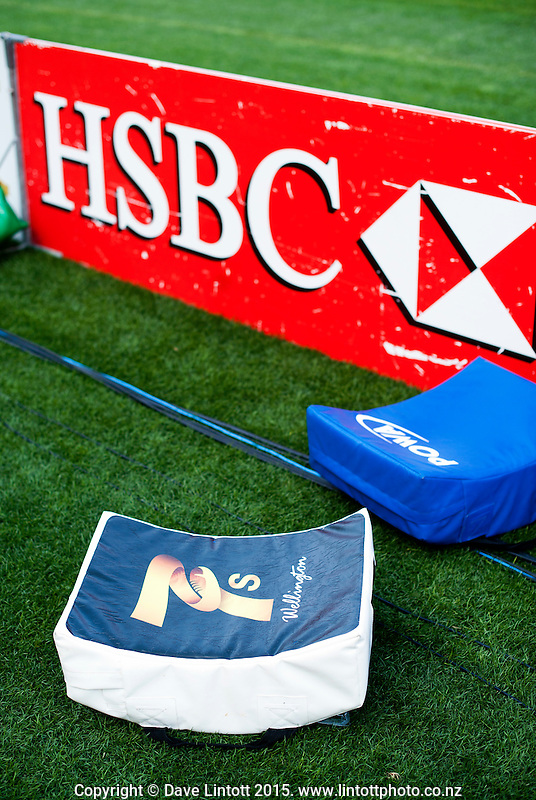 Pads lie behind the advertising hoardings on day two of the 2015 HSBC Sevens World Series Wellington Sevens at Westpac Stadium, Wellington, New Zealand on Saturday, 7 February 2015. Photo: Dave Lintott / lintottphoto.co.nz