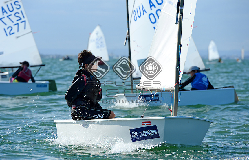 Optimist / Jamie ROSENBERG (AUS)<br /> 2013 ISAF Sailing World Cup - Melbourne<br /> Sail Melbourne - The Asia Pacific Regatta<br /> Sandringham Yacht Club, Victoria<br /> December 1st - 8th 2013<br /> &copy; Sport the library / Jeff Crow
