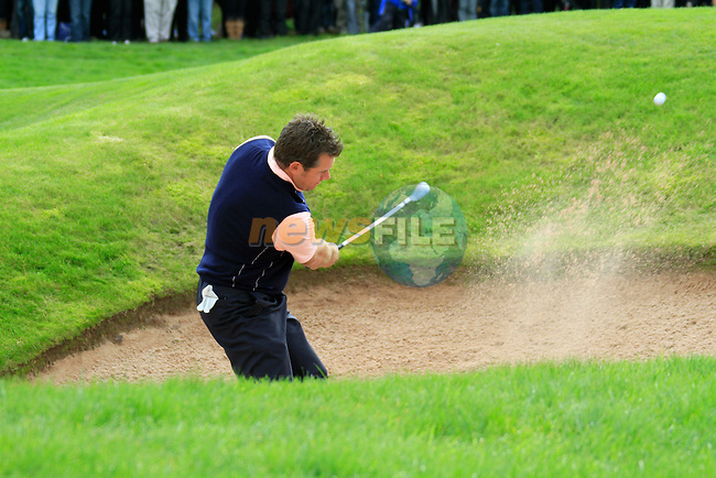 Lee Westwood chips out of a bunker during Practice Day 3 of the The 2010 Ryder Cup at the Celtic Manor, Newport, Wales, 29th September 2010..(Picture Eoin Clarke/www.golffile.ie)