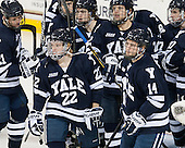 Colin Dueck (Yale - 21), Carson Cooper (Yale - 9), Gus Young (Yale - 2), Andrew Miller (Yale - 17), Tommy Fallen (Yale - 22), Ryan Obuchowski (Yale - 14) - The Boston College Eagles tied the visiting Yale University Bulldogs 3-3 on Friday, January 4, 2013, at Kelley Rink in Conte Forum in Chestnut Hill, Massachusetts.