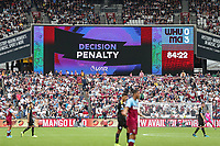 VAR determines that Sergio Aguero of Manchester City's penalty must be retaken during the Premier League match between West Ham United and Manchester City at the London Stadium, London, England on 10 August 2019. Photo by David Horn.