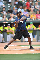 Pitcher Corey Miller swings at a pitch during a game against the soldiers from Fort Jackson as part of the All Star Game festivities at Spirit Communications Park on June 19, 2017 in Columbia, South Carolina. The soldiers from Fort Jackson defeated the Celebrities 1-0. (Tony Farlow/Four Seam Images)