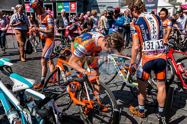 Riders of Nippo - Vini Fantini signing in before the start at Nijmegen, stage 3 from Nijmegen to Arnhem running 190 km of the 99th Giro d'Italia (UCI WorldTour), The Netherlands, 8 May 2016. Photo by Pim Nijland / PelotonPhotos.com | All photos usage must carry mandatory copyright credit (Peloton Photos | Pim Nijland)