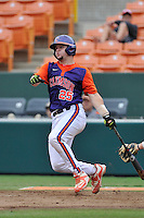 Junior catcher Chris Okey (25) of the Clemson Tigers in a fall practice intra-squad Orange-Purple scrimmage on Sunday, September 27, 2015, at Doug Kingsmore Stadium in Clemson, South Carolina. (Tom Priddy/Four Seam Images)