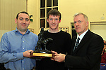 Joe Murphy and Principal Jim Brady present The Fr Gerry Rice Award for Highest Achievement in the Leaving Cert to David McQuillan at the School Awards Ceremony in St.Mary's School...(Photo credit should read Jenny Matthews www.newsfile.ie)....This Picture has been sent you under the conditions enclosed by:.Newsfile Ltd..The Studio,.Millmount Abbey,.Drogheda,.Co Meath..Ireland..Tel: +353(0)41-9871240.Fax: +353(0)41-9871260.GSM: +353(0)86-2500958.email: pictures@newsfile.ie.www.newsfile.ie.