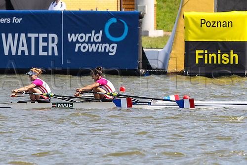 29.05.2015. Poznan, Poland. Malta Regatta course , European Rowing Championships Poznan 2015.  Eleodie Ravera-Scaramozzino, Helene Lefebvre (FRA) Womens pairsX Final B