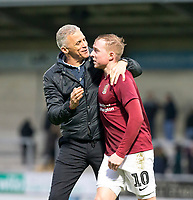 5th January 2020; Pirelli Stadium, Burton Upon Trent, Staffordshire, England; English FA Cup Football, Burton Albion versus Northampton Town; Manager of Northampton Town Keith Curle  with his arm around Nicholas Adams after the final whistle and wining the match 2-4 - Strictly Editorial Use Only. No use with unauthorized audio, video, data, fixture lists, club/league logos or 'live' services. Online in-match use limited to 120 images, no video emulation. No use in betting, games or single club/league/player publications