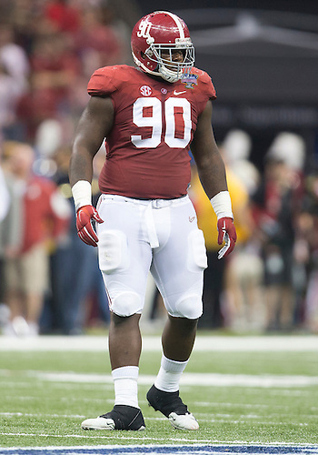 January 01, 2015:  Alabama defensive lineman Jarran Reed (90) during NCAA Football game action between the Ohio State Buckeyes and the Alabama Crimson Tide at Mercedes-Benz Superdome in New Orleans, Louisiana.  Ohio State defeated Alabama 42-35.