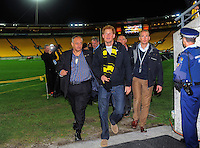 Hurricanes chief executive James Te Puni (left) escorts Prince Harry to the Hurircanes changing rooms the Super Rugby match between the Hurricanes and Sharks at Westpac Stadium, Wellington, New Zealand on Saturday, 9 May 2015. Photo: Dave Lintott / lintottphoto.co.nz