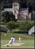 TEST TEST TEST  -  In the shadow of Ampleforth Abbey, North Yorkshire, Scotland U12 opening bowler Calum MacLeod takes one of his three wickets in their victory over Essex U12, in the annual Ampleforth Cricket Festival. Scotland were not expected to defeat the top southern England select (who went on to win the tournament), and later beat Northumberland before losing narrowly to London Schools, in the four day event  ..... picture by Donald MacLeod  30.07.01