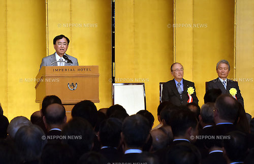 January 5, 2016, Tokyo, Japan - Yoshimitsu Kobayashi, chairman of the Japan Association of Corporate Executives, speaks during a New Year party the three major economic organizations co-hosted at the Imperial Hotel in Tokyo on Tuesday, January 5, 2016.  (Photo by Natsuki Sakai/AFLO) AYF -mis-