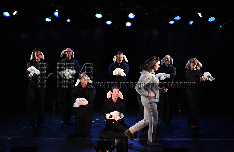 Pamela Bob (Clarice) & Sean McDermott (Hannibal Lecter) with Cast during a Rehearsal for the reopening of 'SILENCE! THE MUSICAL' at The Electra Theatre in New York City on 1/18/2013