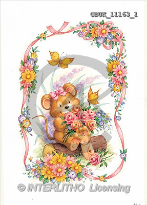 Stephen, CUTE ANIMALS, paintings, mouse, flowers(GBUK11163/1,#AC#) illustrations, pinturas ,everyday