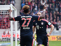 Fussball  1. Bundesliga  Saison 2015/2016  29. Spieltag  VfB Stuttgart  - FC Bayern Muenchen    09.04.2016 Jubel FC Bayern Muenchen; David Alaba (li) und Franck Ribery