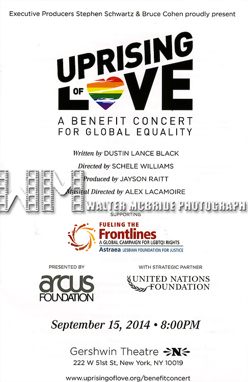 'Uprising Of Love: A Benefit Concert For Global Equality' at the Gershwin Theatre on September 15, 2014 in New York City.