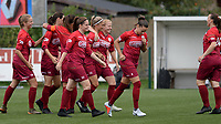20180815 - Zulte , BELGIUM : Zulte's players pictured celebrating their goal and lead during a friendly pre season soccer match between the women teams of Zulte Waregem Dames and OHL Oud Heverlee Leuven Dames  , Wednesday 15 August 2018 . PHOTO DAVID CATRY | SPORTPIX.BE