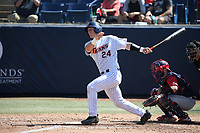 Chris Hudgins (24) of the Cal State Fullerton Titans bats against the Gonzaga Bulldogs at Goodwin Field on March 12, 2017 in Fullerton, California. Fullerton defeated Gonzaga, 3-2. (Larry Goren/Four Seam Images)