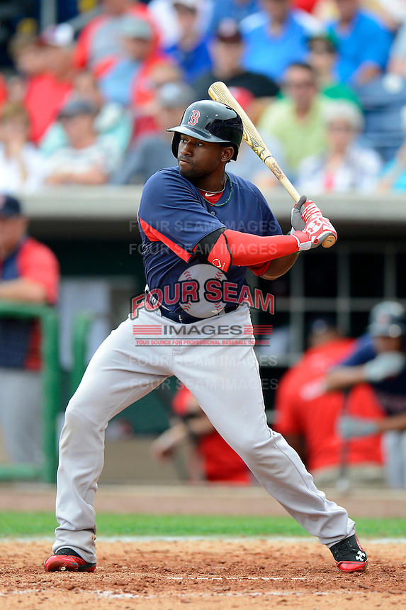 Boston Red Sox outfielder Jackie Bradley Jr. #74 during a Spring Training game against the Philadelphia Phillies at Bright House Field on March 24, 2013 in Clearwater, Florida.  Boston defeated Philadelphia 7-6.  (Mike Janes/Four Seam Images)