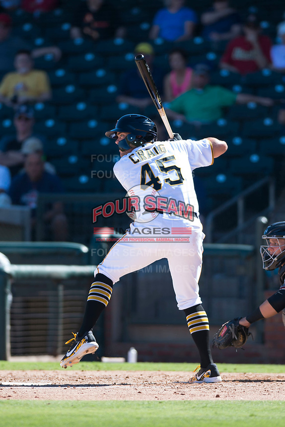 Surprise Saguaros first baseman Will Craig (45), of the Pittsburgh Pirates organization, at bat during an Arizona Fall League game against the Salt River Rafters on October 9, 2018 at Surprise Stadium in Surprise, Arizona. Salt River defeated Surprise 10-8. (Zachary Lucy/Four Seam Images)