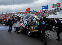 Apr 21, 2018; Baytown, TX, USA; NHRA funny car driver Del Worsham during qualifying for the Springnationals at Royal Purple Raceway. Mandatory Credit: Mark J. Rebilas-USA TODAY Sports