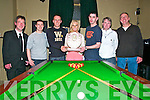 Kingdom Bar Pool Tournament : Tracey Grimes presents the Joe Lynch & Mairead Holly Trophy to the winners of the Kingdom Bar pool Tournament on Sunday night last. L- R: John Dore, referee, Adam Toomey, runner up, Liam Heffernan, winner, Tracey Grimes, Stephen McCormack, winner, Ken Sweeney, runner up & Pat Carey, referee.