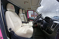Pictured: Interior view of the pink Fiat Ducato horsebox once owned by tv personality Katie Price.<br /> Re: A pink horsebox owned by Katie Price is up for grabs at auction after failing to sell on eBay.<br /> The 2012 registered Fiat Ducato is instead listed on the John Pye online auction site and is now at the company's depot in Port Talbot, south Wales.<br /> The vehicle has only covered 7,000 miles, with additional features EQUI-TREK SUPER SONIC HORSE BOX CARRIER.<br /> Previously owned by Model/TV celebrity Katie Price<br /> 3.5 t finished paint work in Pink by Kahn.<br /> 2 Horse carrier.<br /> Cream Leather interior.<br /> Tachograph.<br /> Aircon.<br /> Grooms Locker.<br /> Extra height partition.<br /> Skylight Roof Vent.<br /> Internal Lighting.<br /> Tinted windows.<br /> Tie Rings on external.<br /> Internal and rear reversing cameras.<br /> wireless camera system with 7&rdquo; screen