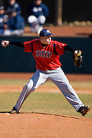 Josh Scott #14 of the Shippensburg Red Raiders in action versus the Catawba Indians February 14, 2010 in Salisbury, North Carolina.  Photo by Brian Westerholt / Four Seam Images