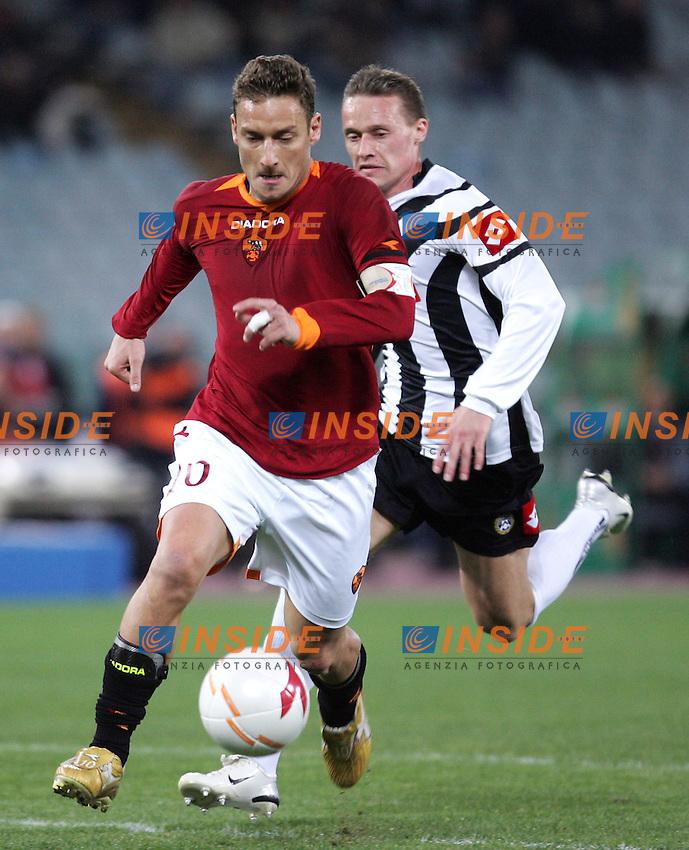 Francesco Totti (Roma), Tomas Zapotocny (Udinese).<br /> Italian &quot;Serie A&quot; 2006-07 <br /> 11 Mar 2007 (Match Day 28) <br /> Roma Udinese (3-1) <br /> &quot;Olimpico&quot; Stadium-Roma-Italy <br /> Photographer Antonietta Baldassarre INSIDE